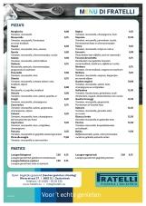 menukaart A4 restaurant