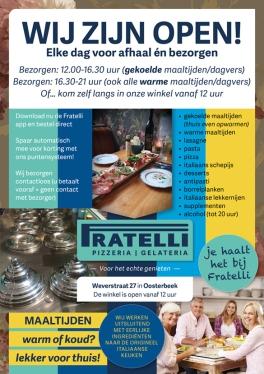 Nov 2020: regering sluit horeca; dus met deze A5 flyer zoekt restaurant direct contact met omwonenden.